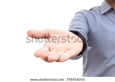 Open business man hand showing something isolated on the white background - stock photo