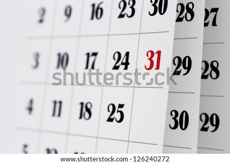 Open calendar pages, closeup - stock photo