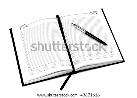 Open calendar witch pen - stock photo