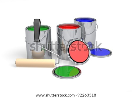 Open cans of colorful paint and roller ready to go - stock photo