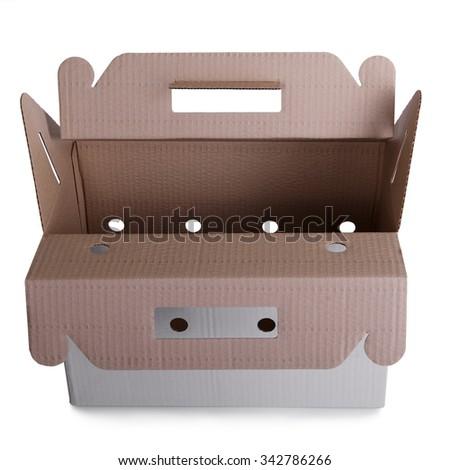 open cardboard box isolated on white background - stock photo
