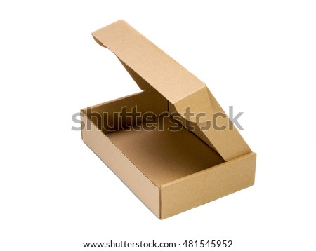 Open cardboard box isolated on white background