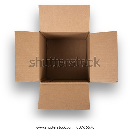 Open Cardboard Box. View from above and isolated on white with shadows.