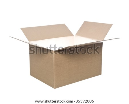 Open cardboard box with light in it