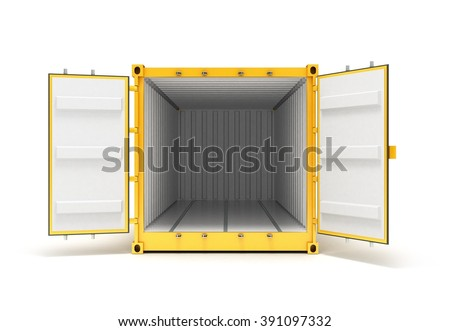 Open Cargo Container Open Doors Front view - stock photo