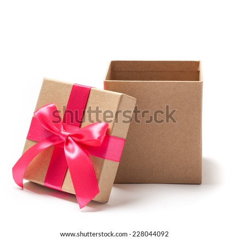 Open carton gift box with red ribbons isolated on white  - stock photo