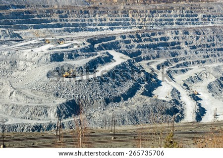 Open-cast mine on mining operations, a city Asbestos, Russia - stock photo