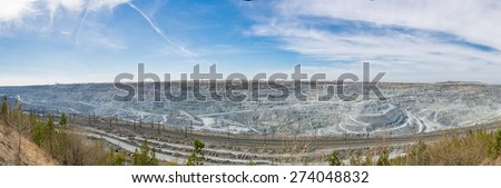 Open-cast mine panorama on mining operations, Asbestos, Russia - stock photo