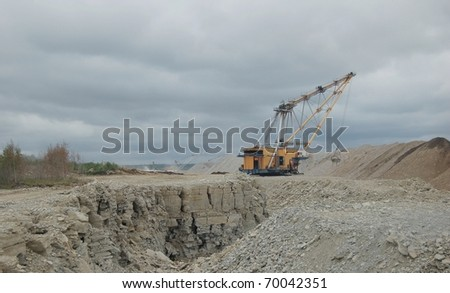 Open cast mining quarry - stock photo