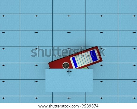 Open cell in safety deposit box. 3D image. - stock photo