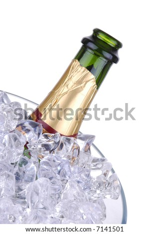 Open Champagne Bottle in Crystal Ice Bucket isolated over white