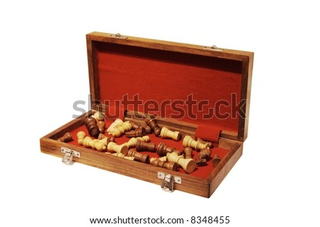 Open chess case with chess pieces - stock photo