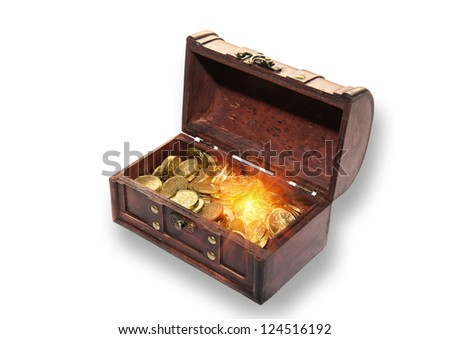 Open chest full of gold coins on a white background - stock photo
