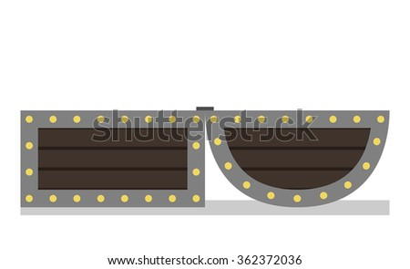 Open chest isolated on white background. Side view - stock photo