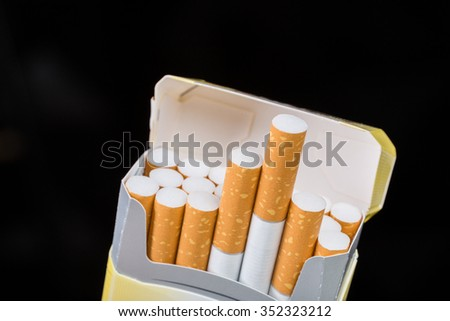 Open cigarette pack