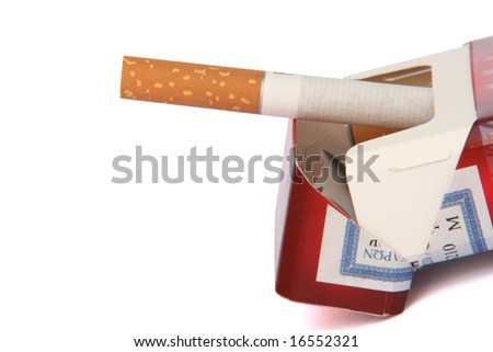 open cigarette pack with clipping path isolated - stock photo