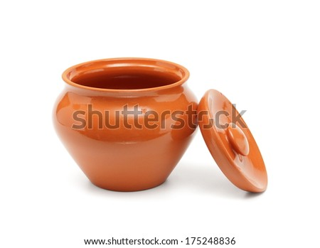 open clay pot for cooking isolated on white - stock photo