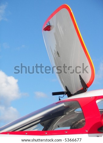 open cockpit hatch of a race boat - stock photo