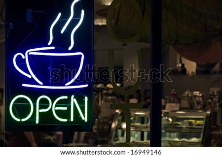 Open Coffee Shop Sign - stock photo