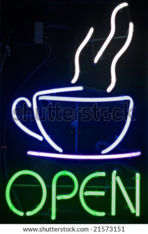 Open Coffee Sign - stock photo