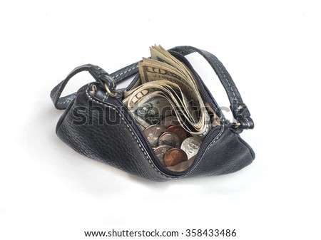 open coin purse with money viewed from above - stock photo