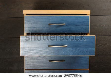 Open commode drawer - stock photo