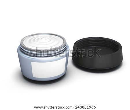 Open container with cream isolated on white background. 3d render image. - stock photo