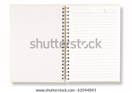 open cover white note book