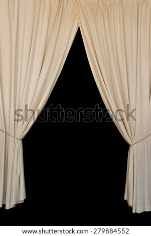 Open curtains elegant drapes tied with rope on black background. - stock photo