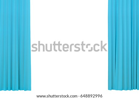 open curtains object blue velvet drapes theatrical stage isolated on a white background with
