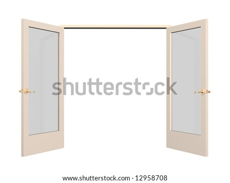 Open 3d door with glass inserts. Object over white - stock photo
