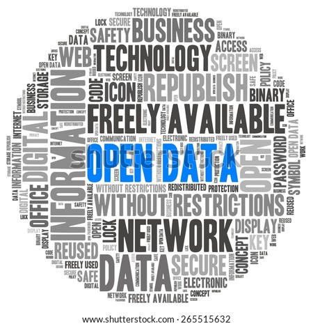 Open Data in word collage - stock photo