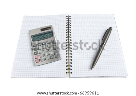 open diary and calculator on a white background