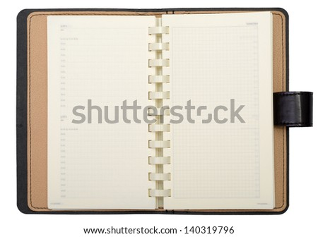 Open diary isolated on a white background - stock photo