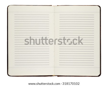 Open diary isolated on white background