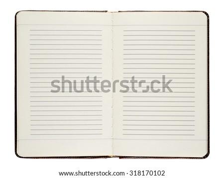 Open diary isolated on white background - stock photo