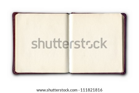 open diary or photo album book on white background - stock photo