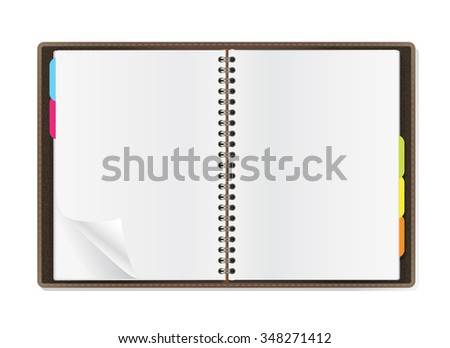 open diary pages on white background. JPG version - stock photo