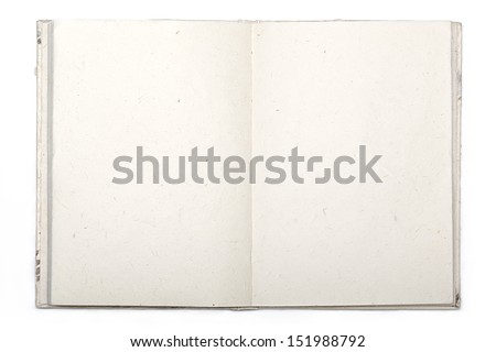 open diary with japan paper isolated on white. - stock photo