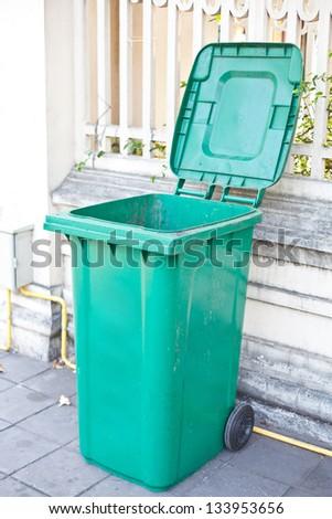 Open Dirty Plastic bin - stock photo