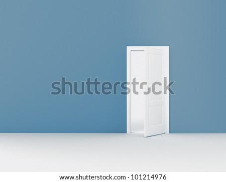 Open door and copy space - stock photo