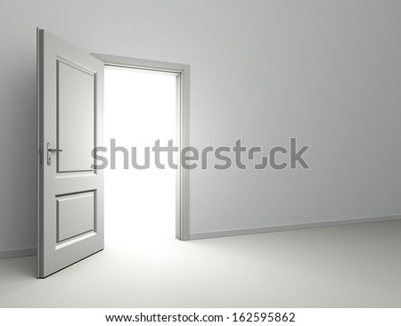 open door and light coming into interior room - stock photo