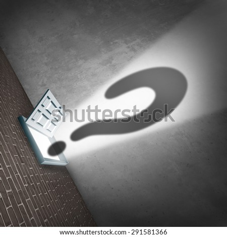 Open door career question concept as an opened doorway exit or entrance with glowing light and a mystery question mark shadow as a metaphor and symbol for opportunity uncertainty or career confusion. - stock photo