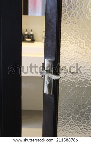 Open door in bathroom