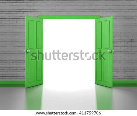open door in brick wall 3d rendering - stock photo