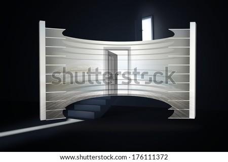 Open door in clouds on abstract screen against door opening revealing light at top of steps - stock photo