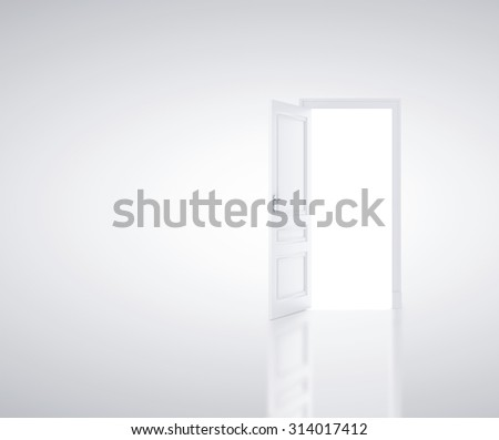 open door in white room - stock photo