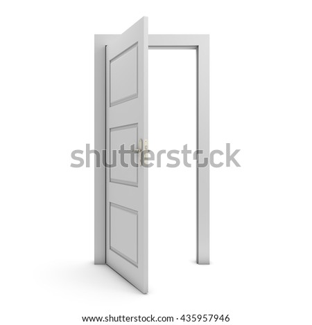 Open door isolated on white 3D render