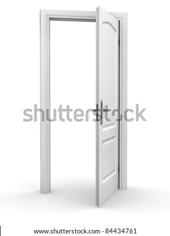 open door over white background