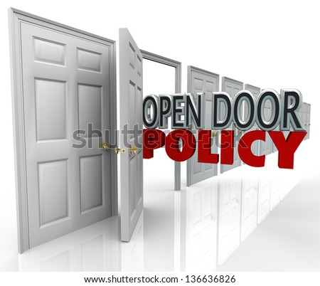 Open Door Policy words in opened doorway to symbolize and illustrate free and welcome communication between management and employees - stock photo